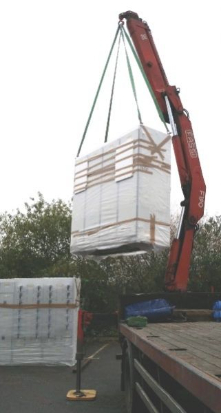 A section being lifted ready for positioning